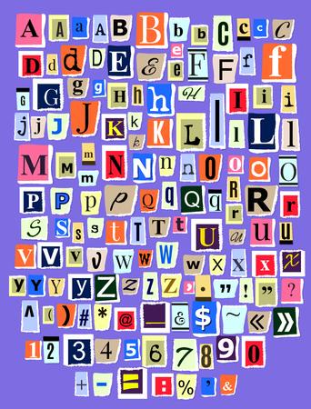 Alphabet Collage ABC Vektor alphabetische Schriftart Buchstaben Ausschnitt aus Zeitungsmagazin und bunten alphabetischen handgemachten Schneidetext Zeitungspapier Illustration alphabetisch auf Hintergrund isoliert gesetzt.