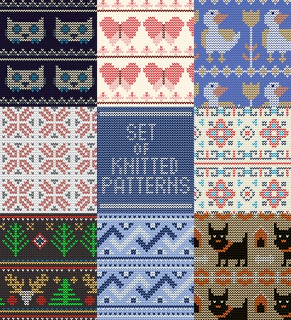 Knitting pattern vector knitted wool texture background traditional winter sweater ornament illustration seamless set of handknitting textile design of knitwear backdrop.