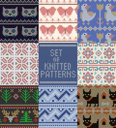 Strickmuster Vektor gestrickte Wolle Textur Hintergrund traditionelle Winter Pullover Ornament Illustration nahtlose Reihe von handstrickenden Textildesign von Strickwaren Hintergrund.