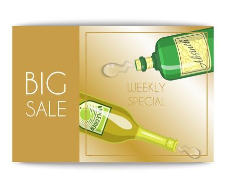 Alccohol sale banner wine list template for bar or restaurant menu design vector illustration. Creative artistic top brand background with vine bottle bar drink glass decoration.