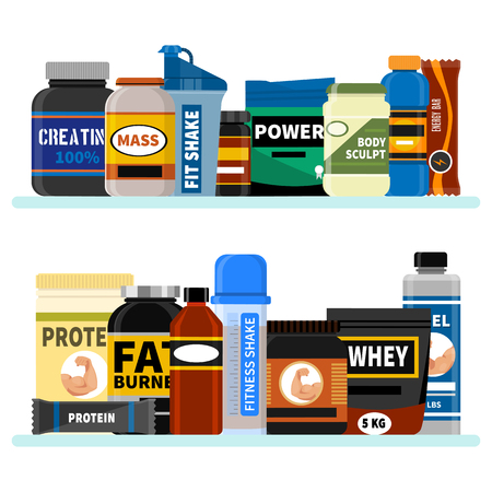 Sports nutrition supplement on shelf. Fitness. Protein shakers energy drinks. Vector illustration healthy food for bodybuilding power background. Athletic powder organic muscle nutritional food. Illustration