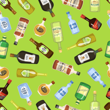 Alcohol seamless background with wine and cocktail bottles and glasses vector illustration. Beverage restaurant drink pattern bar party menu texture textile. Champagne cocktail liquor wallpaper.