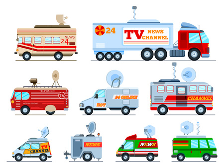 Broadcast car vector tv vehicle broadcasting van with antenna satellite media and television transport illustration set of breaking live news technology auto isolated on white background.