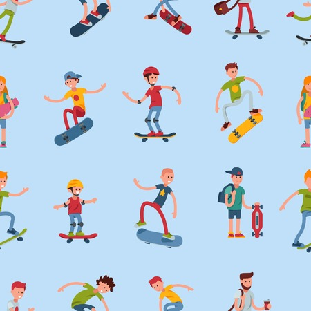 Teenage skateboarding seamless pattern happy teens guy wearing helmet capturing moves urban fun lifestyle vector illustration. Skating sport trendy young characters background.