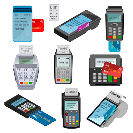 Payment machine vector pos banking terminal for credit card paying through machining cardreader or cash register in store illustration set isolated on white background.