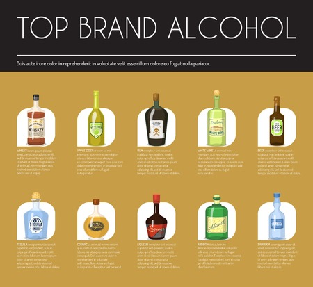 Alccohol wine list template for bar or restaurant menu design vector illustration. Creative artistic top brand background with vine bottle bar drink glass decoration. 版權商用圖片 - 118811502