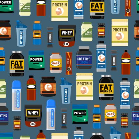 Nahtloses Muster der Sportnahrungsergänzung. Fitness. Protein, Shaker Energy Drinks. Vektor-Illustration gesunde Ernährung Bodybuilding-Power-Hintergrund. Sportliches Pulver Bio-Nahrungsmittel. Vektorgrafik