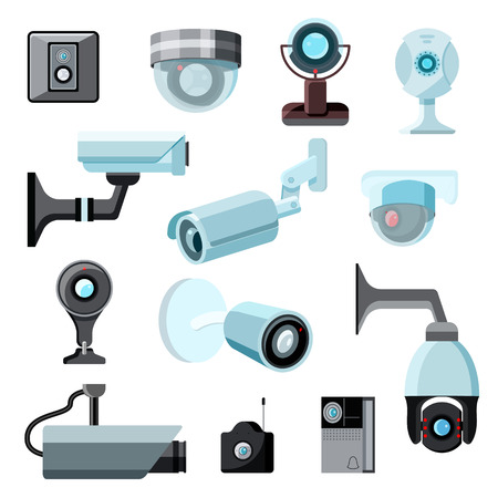 Security camera vector cctv control safety video protection technology system illustration set of privacy secure guard equipment webcam device isolated on white background. Illustration