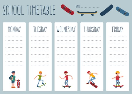 Template school timetable for students or pupils with days of week and free spaces for notes. Illustration includes everyday weekly background school theme. People teen skateboard sport, skate