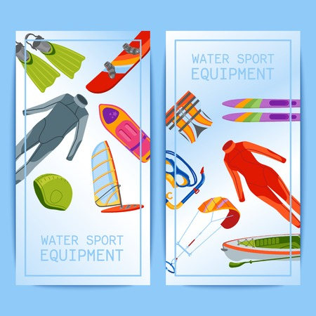 Summer water beach sea sports banners activities vector illustration. Active people watersport windsurfing, surfing, jet ski snorkel, scuba dive, tubing, ride speed boat and banana float tools.