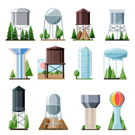 Depósito de agua de almacenamiento de tanque de vector de torre de agua y conjunto de ilustración de torre de agua de contenedor de estructura metálica alta industrial de construcción con torre aislada sobre fondo blanco.