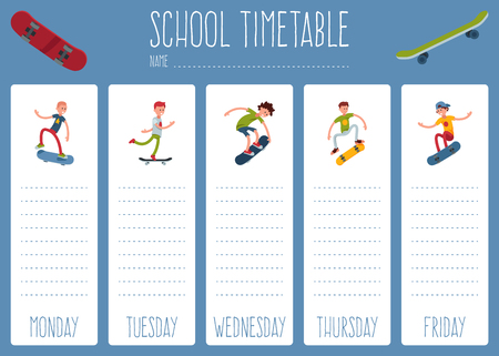 Template school timetable for students or pupils with days of week and free spaces for notes. Illustration includes everyday weekly background school theme. People teen skateboard sport, skate Çizim