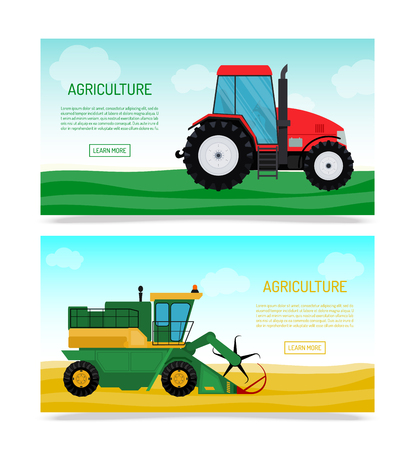 Agricultural vehicles and farm machines set of banners vector illustration. Tractors, harvesters, combines. Agriculture business concept. Agriculture machinery. Agriculture crop harvest.