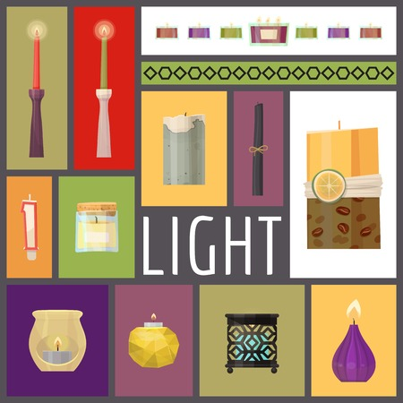 Candle fire vector illustration. Wax candles for xmas party, romantic heat candlelight flame and lit flaming nightlight in glass. Flames for birthday cake or hanukkah decoration banner, poster. Illustration