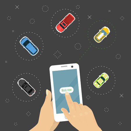 Ordering car online concept, hand holding smartphone with vehicle booking app vector illustration. Choosing the best car for transportation banner, poster, brochure, flyer. Advertisement. Çizim
