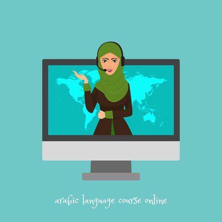 Arabic language courses online, school or translation service vector illustration. Cute cartoon arab woman talking within computer screen. Learning via Internet banner, poster.