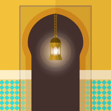 Arch flat card vector illustration. Beautifully realistic decorated entrance to the building poster, banner, brochure, flyer. Door, arch and painted walls with lamp hanging in front. Ilustração