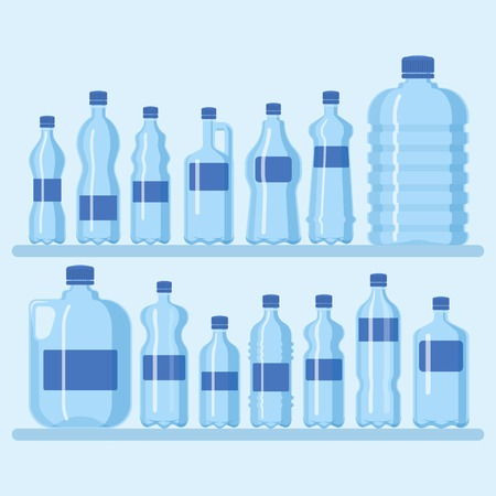 Plastic bottle set vector illustration. Different sizes of cartoon containers for water and other liquids. Shelf with blue empty bottles banner,poster, brochure. Clean water.