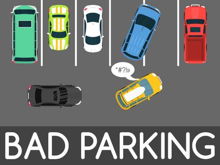 Ilustración de vector de estacionamiento incorrecto. Coche estacionado de forma inapropiada. Conductor molestando a todos. Banner de web conceptual de zona de estacionamiento. Conductor descortés irrespetuoso grosero en el estacionamiento o estacionamiento. Vista superior.