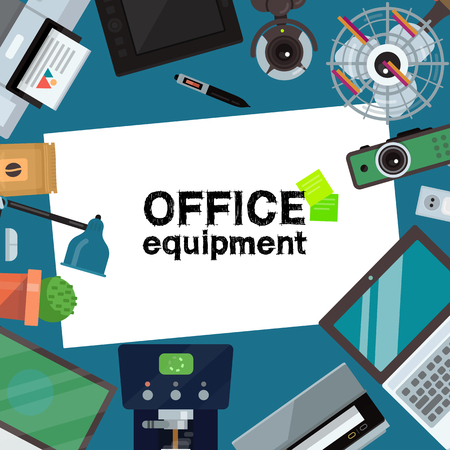 Office equipment banner, poster vector illustration. Gadgets and tools for office work. Desktop computer, laptop, tablet, printer, coffee machine and lamp, projector scanner, fan and web cam, cactus.