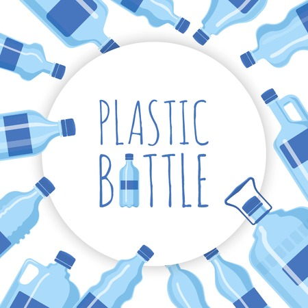 Plastic bottle background vector illustration. Different sizes of cartoon containers for water and other liquids. Blue empty bottles in circle banner, poster, brochure. Drinking pure water.