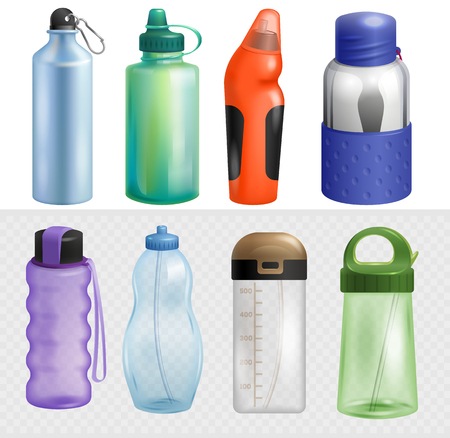 Sport bottle vector sportive water bottled drink thermo and fitness plastic energy beverage with straw illustration sporting set of bottling flask isolated on white background.