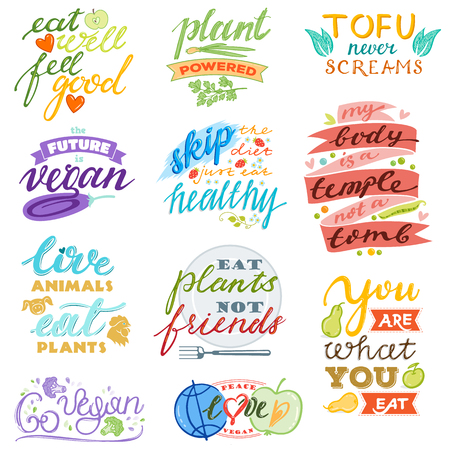Vegan vector healthy vegetarian food eco vegetable fruit lettering sign illustration fruity handwritten logotype vegetated set of organic meal isolated on white background Фото со стока - 118811494