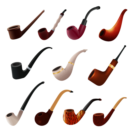 Objeto de fumador de nicotina vintage de vector de pipa de tabaco conjunto de ilustración de producto de pipa de fumar retro clásico de accesorio de humo antiguo realista aislado sobre fondo blanco.
