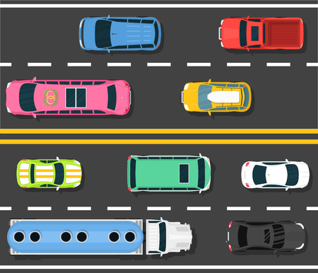 Car road topview vector illustration. Choosing the best car for transportation banner, poster, brochure, flyer. Different vehicles riding. Heavy traffic in city. Two-sided road. Car route. Çizim