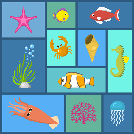Marine plants and fish seamless pattern vector illustration. Fish swimming and seaweed in aquarium or sea. Underwater elements, sand and moss, jellyfish, sea horse and zebrafish cartoon. Çizim