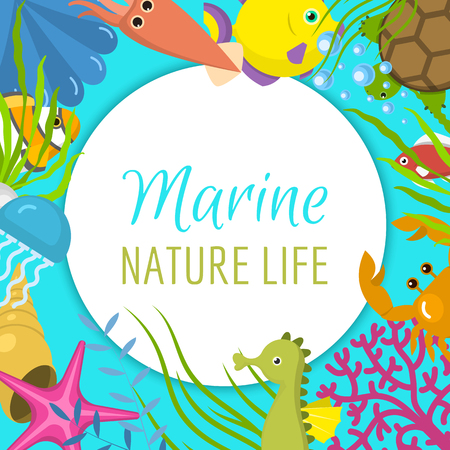 Marine life frame vector illustration. It s summer time banner, poster. Water mask with flippers. Underwater elements, seaweed and moss, fish, sea horse and squid cartoon.