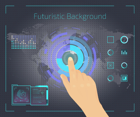 Screen with futuristic game or application vector illustration. Doing researches banner, poster. Touching icons on screen with hand. Getting information about environment. Map background. Standard-Bild - 116022953