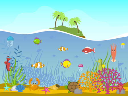 Marine world background vector illustration. Underwater elements, seaweed sand and moss, jellyfish, sea horse and zebrafish, crab, turtle cartoon. Deserted island with palms and plants.