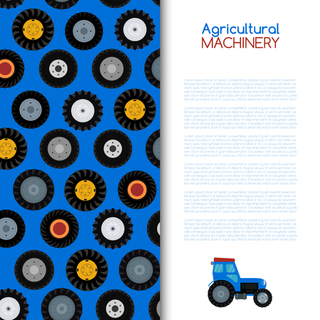 Agricultural vehicle and different wheels of farm machines vector illustration. Cartoon blue tractor. Agriculture business concept. Agriculture machinery, crop harvest banner, poster, brochure. Illustration