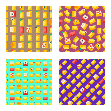 Email set of seamless pattern vector illustration. Open and closed envelopes with letters. Sending and getting messages icons for application or networks. Love or business letter. Computer signs.