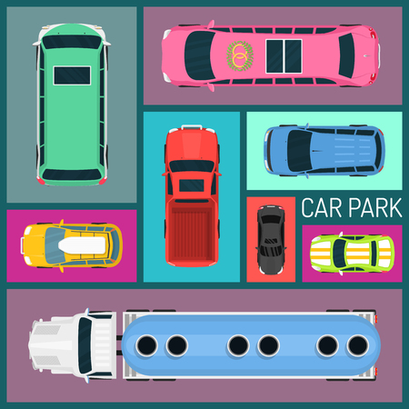 Cars of different size and color seamless pattern vector illustration. Car parking. Top view of parking zone with a variety of cars. Parking garage in flat style. Transportation possibilities.