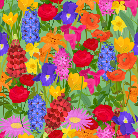 Floral background for textile, fabric. Flowery field seamless pattern vector illustration. Different colorful cartoon flowers such as roses, daffodil, poppy, tulip, iris, daylily, gerbera with grass.