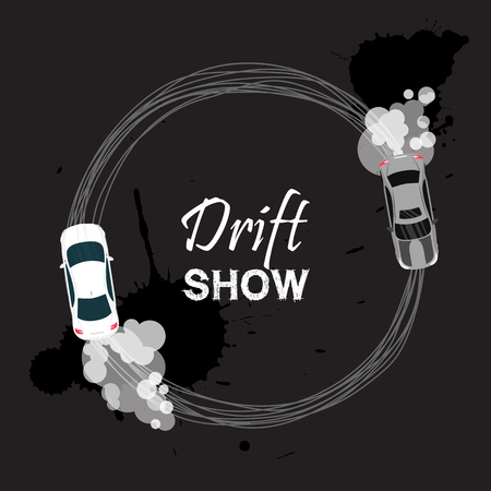 Car drift card vector illustration. Drift show banner, poster, brochure, flyer. Top view of a drifting vehicles. Competition between participants. Street racing, racing team, tuning. Illustration