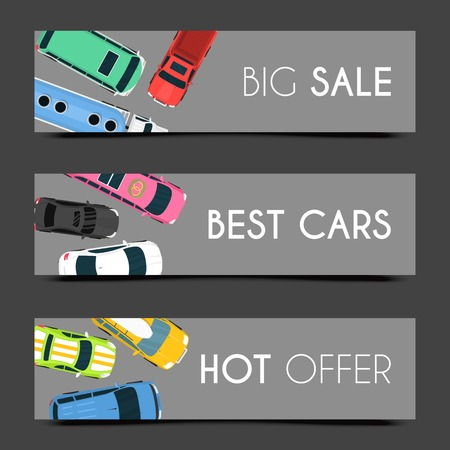 Exclusive car care set of banners vector illustration. Car service. Transportation services in good conditions on expensive vehicles. Hot offer. Renting or selling best cars. Big sale.