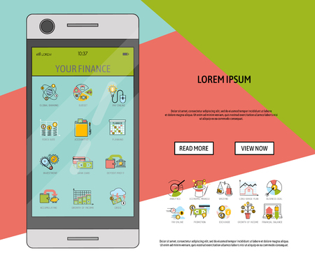 Mobile financial software banner vector illustration. Risk management. Corporate finance. Corporate valuation. Fianncial modelling. Stock exchange. Cash flow. Observing your finance. Icons for app.