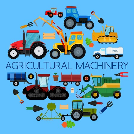 Agricultural vehicle farm equipment, machines vector illustration. Tractors, harvesters, combines, hind-carriage. Agriculture business concept. Agriculture machinery crop harvest banner poster. Illustration