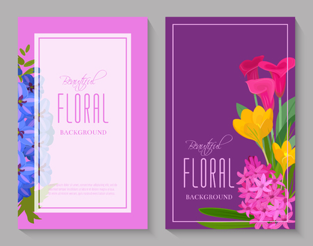Beautiful floral background for flower shops or invitation cards. Beautiful bright ornament vector illustration. Different flowers such as roses, calla, hyacinthus, tulip banner, poster, flyer. Illustration