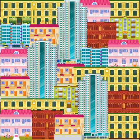 City scape seamless pattern. Cartoon hotels and motels background. Downtown landscape with high skyscrapers. Panorama architecture wallpaper. Hotel buildings vector illustration. Illustration