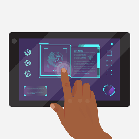 Tablet with futuristic game or application template vector illustration. Doing researches banner, poster. Touching icons on screen. Getting information about environment. Map sign.
