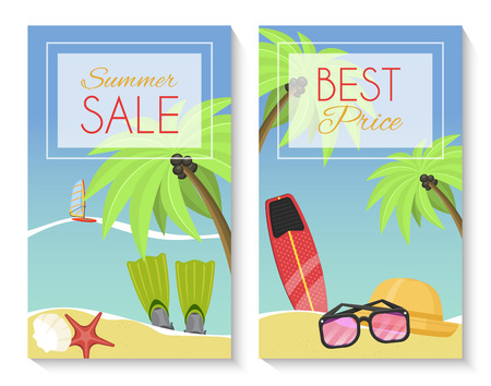 Summer sale set of banner, brochures, flyers, posters. Best price. Vacation on seaside with palms, flippers, surf, hat, sunglasses, starfish, shell, sailboat. Discount for summer equipment. Stock Vector - 118811527