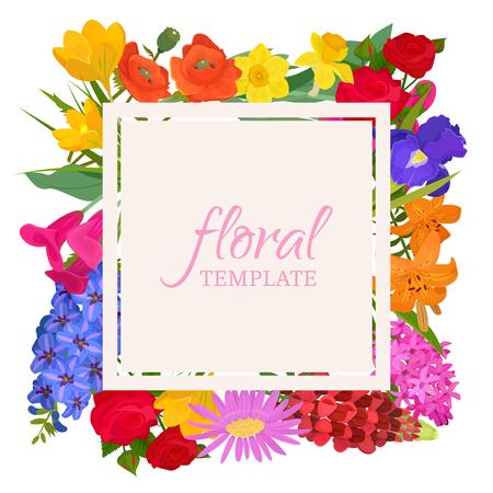Plantilla floral para floristerías o tarjetas de invitación. Hermoso patrón floral oriental y adorno brillante. Diferentes flores como rosas, narcisos, amapolas, tulipanes, pancartas de jacintos, carteles. Ilustración de vector