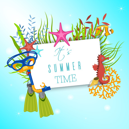 Marine life frame vector illustration. Its summer time banner, poster. Water mask with flippers. Underwater elements, seaweed and moss, jsea horse and zebrafish cartoon. Illustration