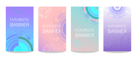 Futuristic circles set of banners vector illustration. Cyber monday background for online shopping advertisement. Sci fi technology. Buying things in Internet. Web design from future. Modern. Standard-Bild - 116448289