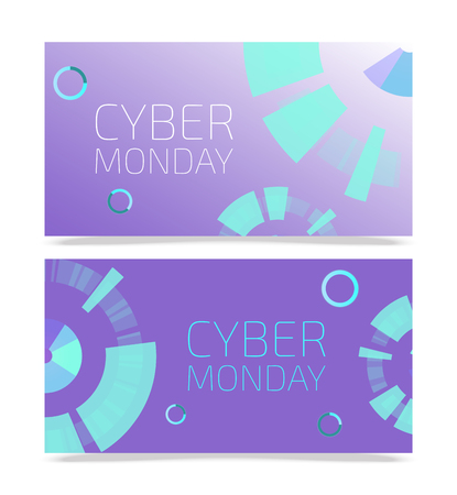 Cyber monday templates vector illustration. Set of banners for online shopping. Thanksgiving sale. Buying things in Internet with big discounts. Futuristic design. Good offers. E-commerce.