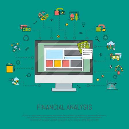 Financial analysis banner vector illustration. Risk management. Corporate finance. Corporate valuation. Fianncial modelling. Stock exchange. Discounted cash flow. Desktop computer with icons. Illustration